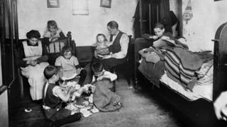 Poor family in Berlin, Germany during 1920s.