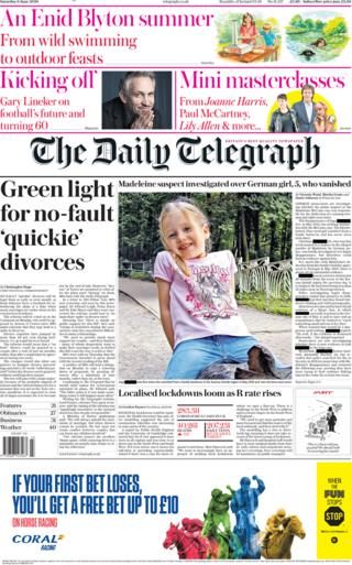 The Daily Telegraph front page 6 June
