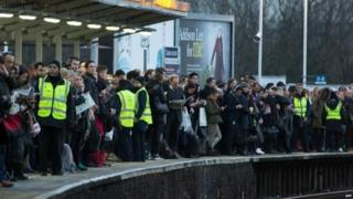 Rail passengers waiting for train
