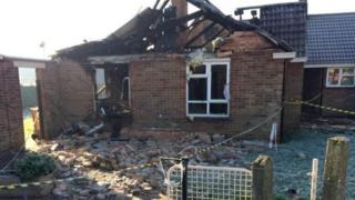 The destroyed bungalow