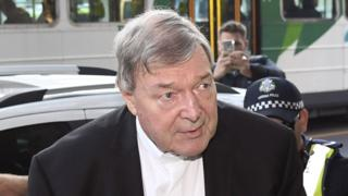 Cardinal George Pell outside the Melbourne Magistrates Court on Tuesday