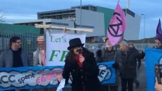 Protest at waste incinerator site