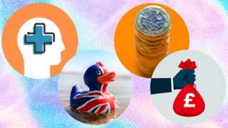 Mental health, a rubber duck, a pile of pounds and a bag of money