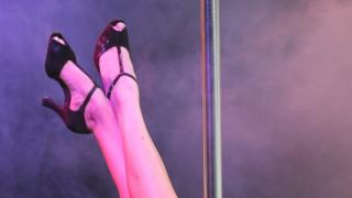 Pole dancer legs