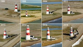 Shots of Orfordness Lighthouse from 1995 to 2018