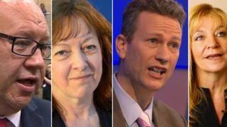 Wales' MEPs (L-r) Derek Vaughan, Jill Evans, Nathan Gill and Kay Swinburne