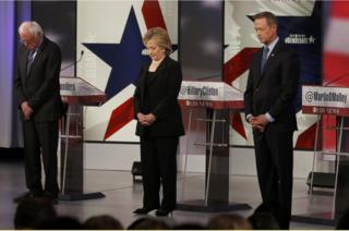 Sanders, Clinton and O'Malley hold a moment's silence for Paris