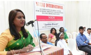 Transgender rights activist Kalki Subrahmaniam speaks at the opening of the Sahaj International school in Kochi