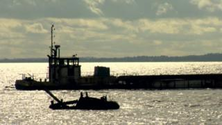 Sand dredging boat on Lough Neagh