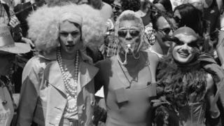 Three trans men at a Gay Pride Parade, London, 6th July 1996