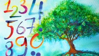 Números en pintura de árbol y cielo