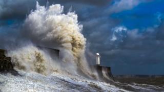 Waves crashing in Porthcawl