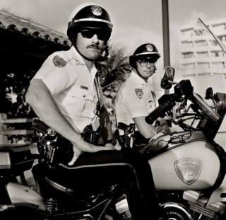 Two policemen on motorbikes in Miami Beach