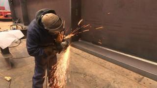 Welding at a steel fabrication firm in Baglan near Port Talbot
