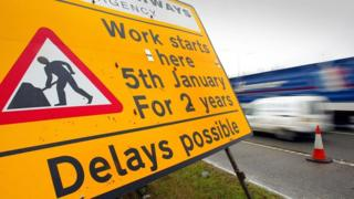 "Roadworks sign - ""work starts here 5th January for 2 years. Delays possible"""