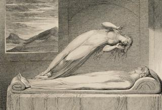 The Soul hoverng over the Body reluctantly parting with Life. Print Luigi Schiavonetti, After William Blake