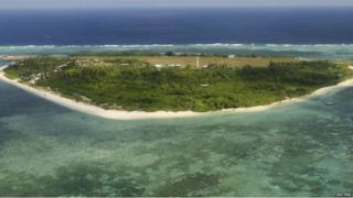 An aerial view shows the Pagasa (Hope) Island, part of the disputed Spratly Islands (Chinese name: Nansha islands, Vietnamese Name: Quan dao Truong Sa, Filipino Name: Kapuluan ng Kalayaan) which are a disputed group of more than 750 reefs, islets, atolls, cays and islands (archipelago) in the South China Sea.