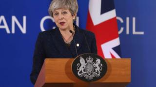 Theresa May Prime Minister of the United Kingdom and Leader of the Conservative Party as seen in press conference after the European Council meeting with Brexit as the main topic. EU leaders agreed to postpone Brexit and article 50. The meeting too place in Forum Europa Brussels, Belgium on 21 March 2019. (