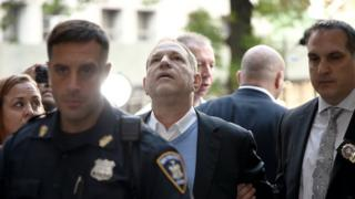 Harvey Weinstein arrives for arraignment at Manhattan Criminal Courthouse in handcuffs after being arrested and processed on charges of rape, committing a criminal sex act, sexual abuse and sexual misconduct on May 25, 2018