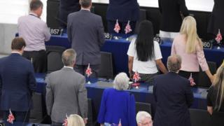 Brexit Party MEPs turning their backs at the European Parliament