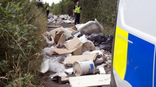 The fly-tipped rubbish