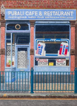 A painting of the front of a cafe by Doreen Fletcher