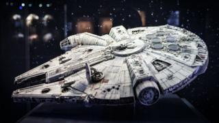 An original model of the Millennium Falcon is displayed at the Star Wars Identities exhibition at the O2 Arena on November 11, 2016.