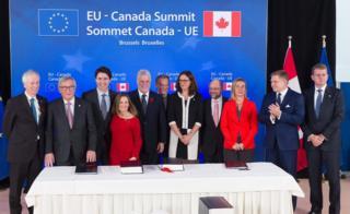 AB-Kanada Serbest Ticaret Anlaşması töreni