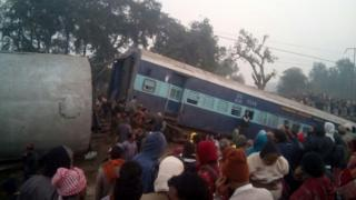 Derailed carriages of the Ajmer-Sealdah Express train