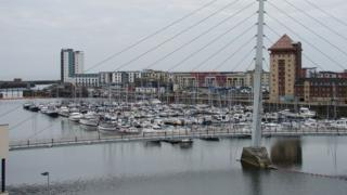 Swansea sail bridge and marina