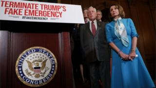 "Speaker of the House Nancy Pelosi (D-CA) (R) is joined by House Majority Leader Steny Hoyer (D-MD) and other House Democrats for a news conference on the Privileged Resolution to Terminate President Donald Trump""s emergency declaration"