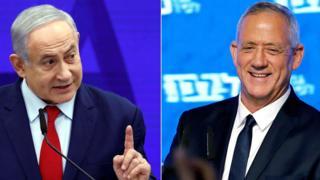 File photos showing Benjamin Netanyahu (L) and Benny Gantz (R)