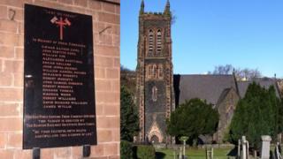 War memorial at St David's Church, Bangor