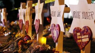 Star of David memorials are lined with flowers at the Tree of Life synagogue in Pittsburgh, Pennsylvania, 29 October 2018