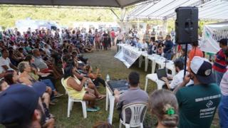 Reunião entre atingidos pela lama e representantes da Vale no Parque da Cachoeira, em Brumadinho, em 5 de fevereiro de 2019