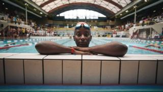Ugandan swimmer Clare Byarugaba at the 2018 Gay Games edition at The Georges-Vallerey swimming pool in Paris on 10 August 2018