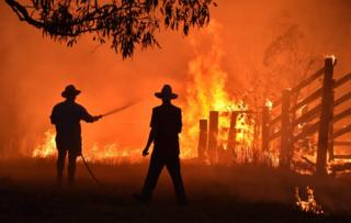 in_pictures Residents, silhouetted against the flames, battle a bushfire in Australia.