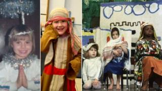 Children in their school nativity outfits