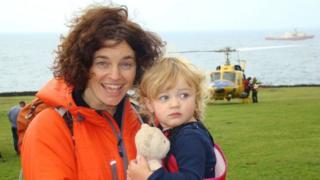 Penny Granger on Tristan da Cunha with her daughter, Elika
