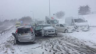 Multi-vehicle crash on M66