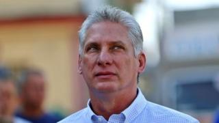"In this file picture taken on March 11, 2018 Cuba""s First Vice-President Miguel Diaz-Canel queues at a polling station in Santa Clara, Cuba,"
