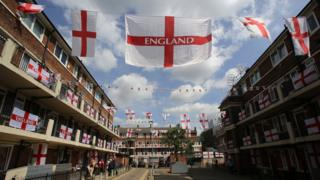 England flags at Kirby Estate in Bermondsey