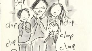 in_pictures The family clapping NHS workers