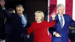 هيلاري كلينتون وبيل كلينتون وأوباما