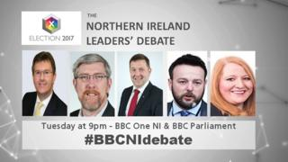A graphic showing the politicians taking part in the BBC NI Leaders' Debate