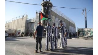 Une manifestation à Bathlehem en soutien aux prisonniers palestiniens en grève de la faim