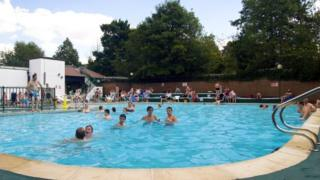 Outdoor pool at Abbey Fields
