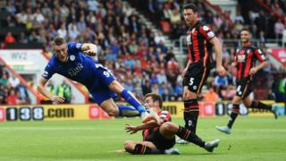 Jamie Vardy scores against Bournemouth