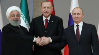 در نشست حسن روحانی، ولادیمیر پوتین و رجب طیب اردوغان