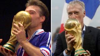 Didier Deschamps levanta la Copa del Mundo de Francia 1998 y Rusia 2018